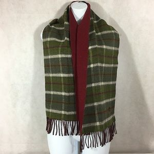 Mila Schon Wool Scarf Reversible Red Plaid